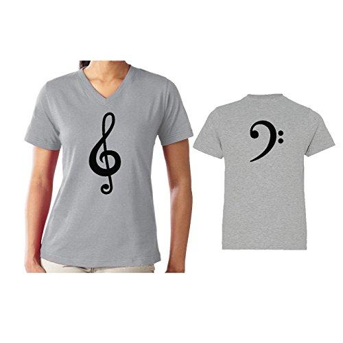 Bass Xl Set (We Match! Treble Clef & Bass Clef Women's V-Neck & Children's Matching T-Shirt Set (Youth Large, Women's Cut XL, Sport Grey))