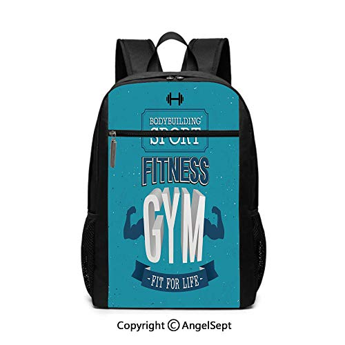 17 Inch Backpack School Bags,Fit For Life Bodybuilding Sport Biceps Sportsman Athletic Muscular Form,Blue Dark Blue White,6.5