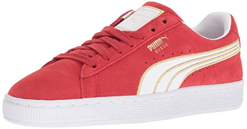 PUMA Women's Suede Varsity Sneaker, Ribbon red White, 6 M US