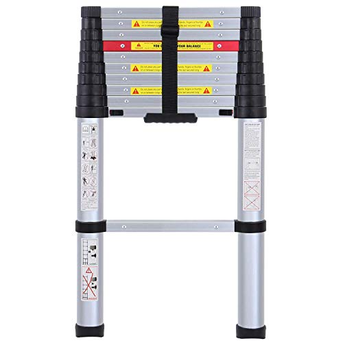 WolfWise 10.5FT EN131 Aluminum Telescopic Extension Ladder - One-Button Retraction System, Upgraded Extendable Telescoping Ladder with Spring Loaded Locking Mechanism Multi-Position