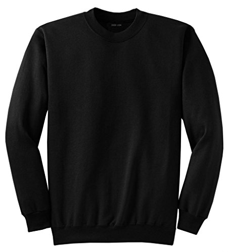 Joe's USA- Men's Tall Ultimate Crewneck Sweatshirt-Black-2XLT