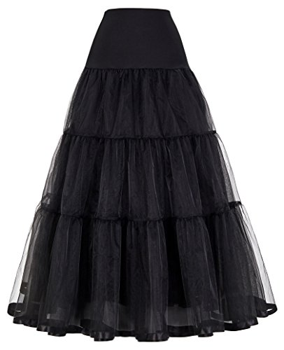 GRACE KARIN Women's Ankle Length Bridal Petticoats, Formal Dress Slips (L,Black) -