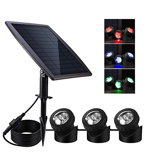 (Solar Pond Lights,Solar Powered Spotlights Upgraded Amphibious Lighting Land/Underwater IP68 Waterproof Outdoor Landscape Lights RGB Color Adjustable with 3 Lamps 18 LED Auto On/Off Sensor Submersible)