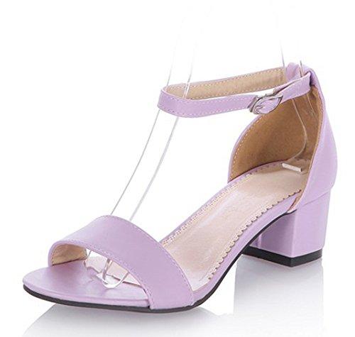 Aisun Womens Simple Confortable Orteil Couvert Talons Cheville Wrap Boucle Sangle Robe Bloc Mi-talons Sandales Chaussures Violet