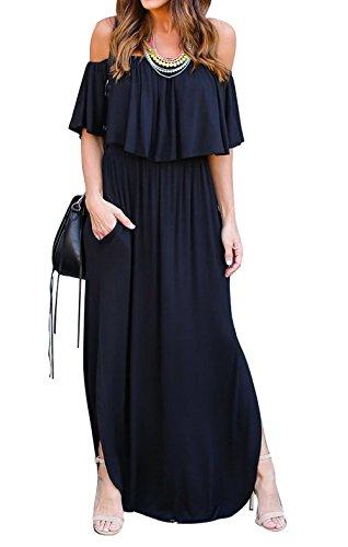 Col Lotus Maxi Fendue t Simple C Noir t Robe Robes de Unie Casual Feuille Femmes de Plage Soire Couleur avec Long Bateau de Fashion Robes Fashion lgante Fte Cocktail q7ztYtxyZw