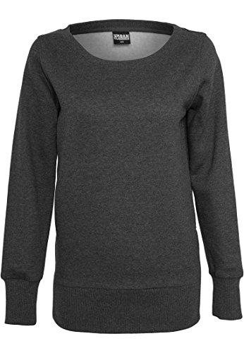 Charcoal Zip Crewneck Side Ladies Long Donna Maglione Urban Classics Xqz8wxR6t