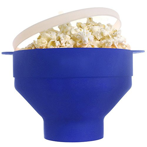 Collapsible Microwave Popcorn Popper with Handles BPA free (Blue)