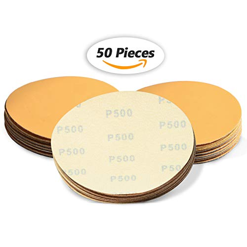 SPEEDWOX 50 Pcs 6 Inches Sanding Discs 500 Grit Dustless Hook and Loop Sandpaper for Random Orbital Sander Yellow Finishing Discs for Automotive Woodworking from SPEEDWOX