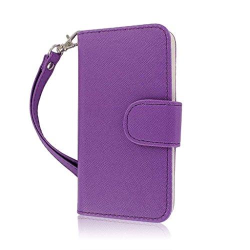 MPERO FLEX FLIP Portefeuille Case Étui Coque for Apple iPhone 5 / 5S - Purple Pourpre / Blanc