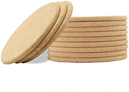 Pack of 12 Natural Cork Coasters, Round and Absorbent Cup Mats for Hot or Cold Drinks and Beverages, Prevents Spills and Marks on Tables, Desks, Counter Tops and other Furniture