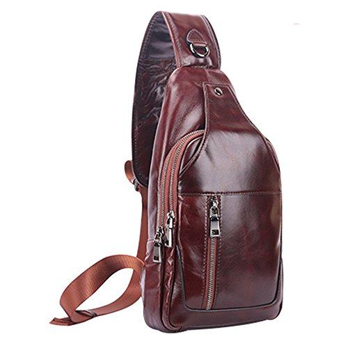 Unbalance Buckle Men's Magnetic Casual Sling Leather Brown Dark Chest Sport Pack Outdoor Shoulder Bag Gendi Genuine Leisure g1qwHz