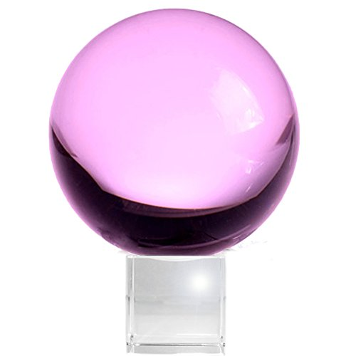 Amlong Crystal Meditation 80mm Pink Crystal Ball with Stand, Rose ()