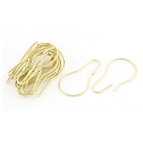 uxcell Gold Tone Calabash Shape Metal Bathroom Shower Curtain Ring Hooks 20pcs