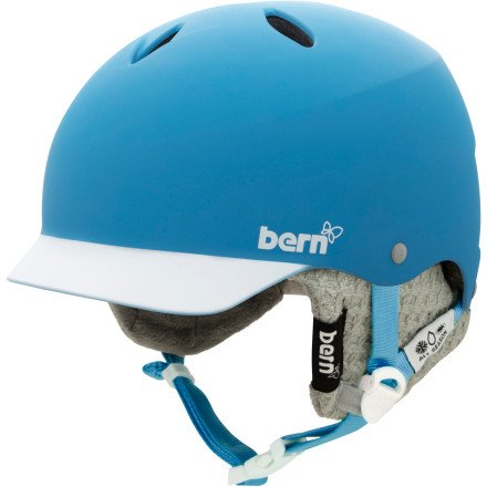 Bern Lenox EPS Visor Helmet – Women's Matte Cyan/White Brim/Grey Knit, M/L, Outdoor Stuffs