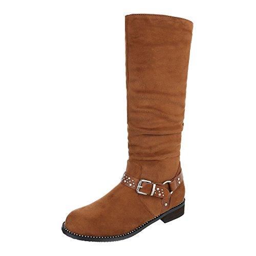 Ital-Design Klassische Stiefel Damenschuhe Klassischer Stiefel Blockabsatz Blockabsatz Reißverschluss Stiefel Camel
