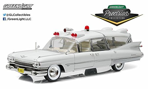 Greenlight Precision Collection 1959 Cadillac Ambulance Vehicle (1:18 Scale), White ()