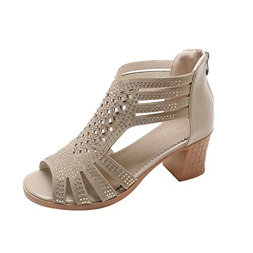 Women Crystal Sandals Leather Peep Toe Wedge Sandals Hollow