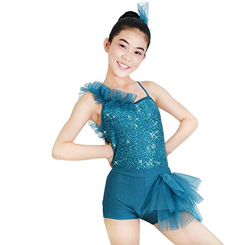 MiDee Jazz Dance Costume 2 Pieces with A Leotard One Shoulder Ruffled Shorts with Side Bustle (SA, Turquoise)