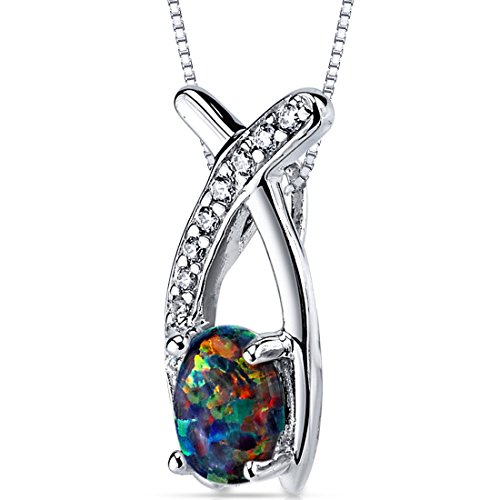 Created Black Opal Pendant Necklace Sterling Silver Oval Shape 0.75 Carats