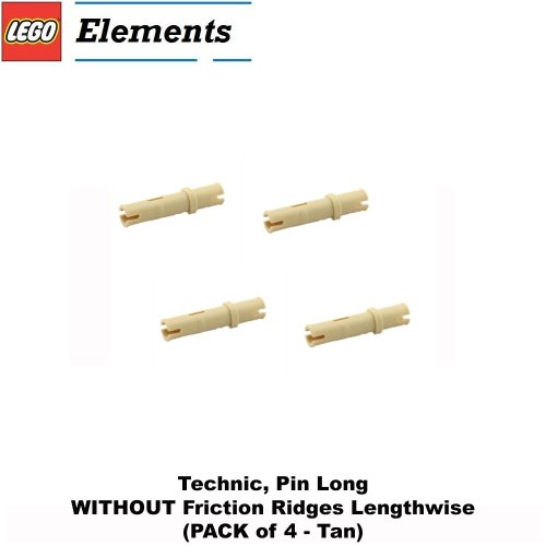 Lego Parts: Technic, Pin Long WITHOUT Friction Ridges Lengthwise (PACK of 4 - Tan)