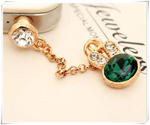 - Green diamond small rabbit cell phone chain, gold dust plug