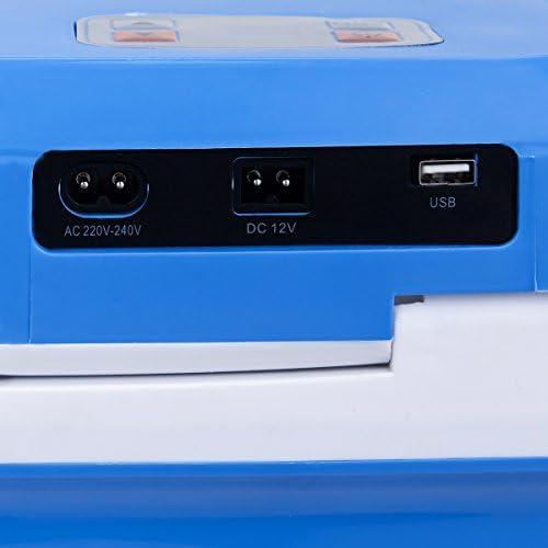 COSTWAY Glaci/ère Electrique Mini R/éfrig/érateur de Voiture R/éfrig/érateur Electrique Portable Isotherme Chaud//Froid 26 L pour Voiture et Camping Bleu