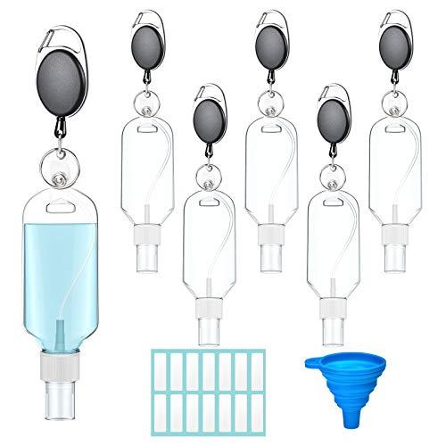 🥇 Olycism 6 Piezas 50 ml Botellas de Viaje Recargables con Clips de Anilla en D de Escalada Botella de Pulverizadores Portátil con Etiqueta Adhesiva y Embudo para Limpieza Actividades Aire Libre Escuela