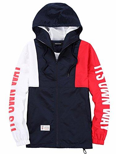 (Bestmail Mens Split Floral Printed Windbreaker Pullover Jacket)