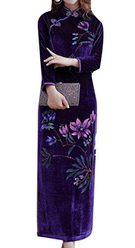 Lato Oro Plus Donne A Comodi Pattern3 Velluto size Stampa Floreale Cheongsam Fessura wxqt08g0T