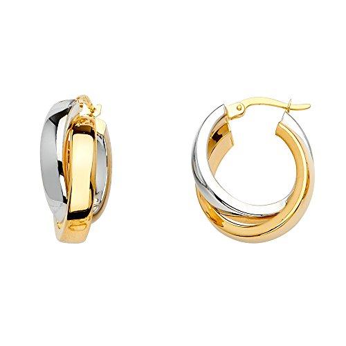 14K Two Tone Gold 11mm Crossed Hoop Earrings (19 x 19 mm)