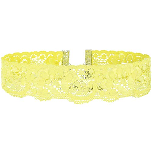 Twilight's Fancy Floral Elastic Stretch Lace Choker Necklace (Yellow, Medium)