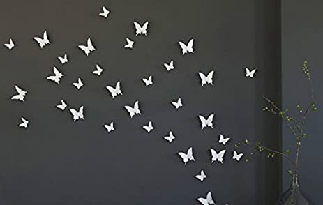 Amazon.com: Blaydessales: Butterfly Wall Art (Pack of 24) White ...