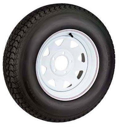 12 x 4 White Steel Spoke 5 Lug Trailer Wheel and ST145R12 LR D Radial Tire Assembly