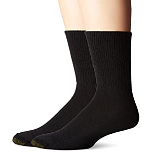 Gold Toe Men's Non Binding Super Soft Crew 2 Pack Sm, Black, 9-11 (Sock Size:10-13/Shoe Size: 6-12)