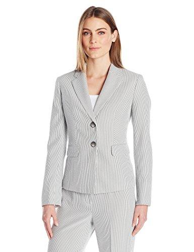 Kasper Women's Pinstripe Seersucker 2 Button Jacket, White/Black, (Seersucker Stripe Jacket)