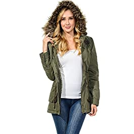 Auliné Collection Womens Faux Fur Hoodie Sherpa Lined Military Safari Utility Fashion Parka Jacket