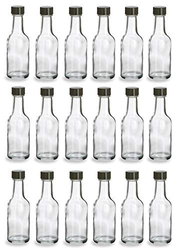 Nakpunar 20 pcs, 60 ml Glass Liquor Bottles with Black Caps (2 oz)
