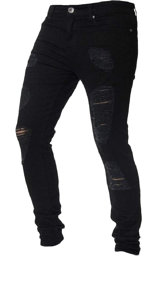 Abetteric Mens Plus Size Solid Bodycon Mid Waist Holes Fashion Denim Jeans