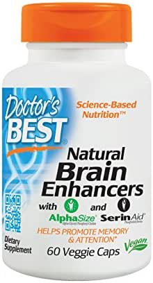 Doctor's Best Natural Brain Enhancers, Non-GMO, Vegan, Gluten Free, 60 Veggie Caps