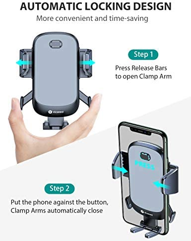2020 Upgraded Auto Clamp Phone Holder for Car, VICSEED Phone Car Holder Ultra Stable Car Phone Mount Strong Grip Air Vent Car Phone Holder Case Friendly Compatible with iPhone and All Other Smartphone 41kJt8bzMOL