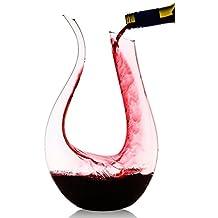 JHome 1500ml(51.2oz) U Shape Crystal Glass Wine Decanter /Storage Box/Red Wine Carafe