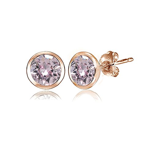 Rose Gold Flashed Sterling Silver 5mm Bezel-set Martini Pink Stud Earrings created with Swarovski Crystals (Earring Bezel Swarovski)