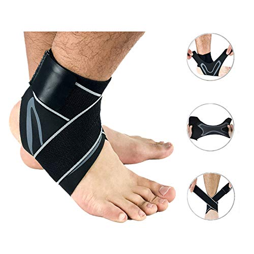 Ankle Brace,Adjustable Compression Support,Ankle Sleeve for Plantar Fasciitis, Achilles Tendon, Sports Injuries and Recovery-Ankle Stabilizer for Men and Women (Right, Large)