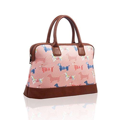 Bag Holdall Weekend Womens Womens Pink Travel Dog Shoulder Oilcloth Ladies Handbag Sauasage Light AwwCqF8