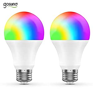 Smart WiFi LED Light Bulb A19 800Lm, Multi-Color, Dimmable, No Hub Required, Free APP Remote Controlled Home Night lamp, Compatible with Alexa & Google Assistant, 75W Equivalent (2 Pack)