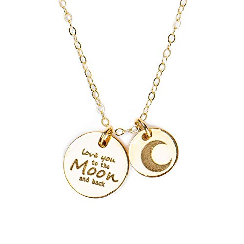 (Love You to the Moon and Back Disc Charm Necklace in 14K Gold Fill)