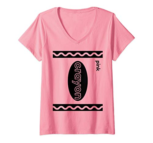 Womens Funny Last Minute Group Costume Halloween Idea | Pink Crayon V-Neck T-Shirt