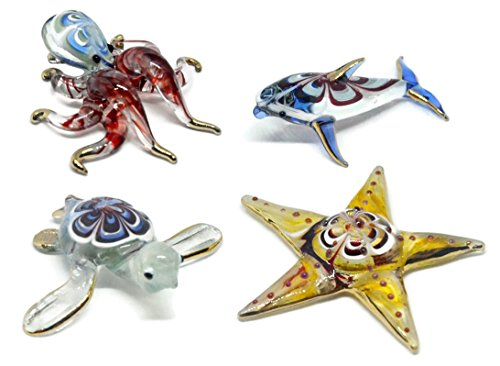 NaCraftTH Aquarium Decorations Glass Figurines Colorful Sea Life Turtle Dolphin Octopus Starfish Murano Art Mini Handicraft Animal Figure Fish Tank Ornament, Set of 4 (Color May Vary) (Mix Set 4) (Starfish Murano Glass Earrings)