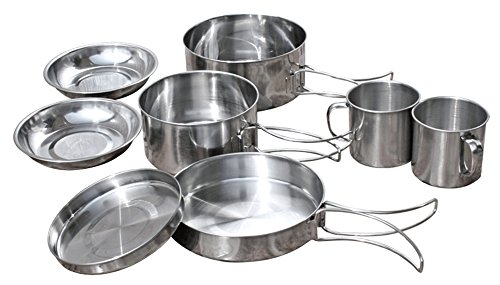 C-Pioneer 8pcs Stainless Steel Outdoor Camping Cookware Kit Pot Pan Plate Cup Backpacking Picnic Cooking Utensils by C-Pioneer