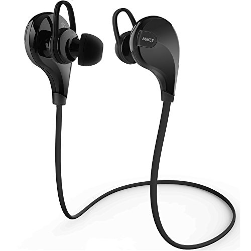 Bluetooth Headphones, AUKEY Wireless Stereo Sport Running Sweatproof Earbuds with Built-in Mic for for iPhone 7 / 6S / 6, Samsung, Android Smartphones (Black)